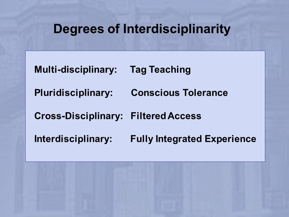 Degrees of Interdisciplinarity Multi-disciplinary: Tag Teaching Pluridisciplinary: Conscious Tolerance Cross-Disciplinary: Filtered Access Interdiscip