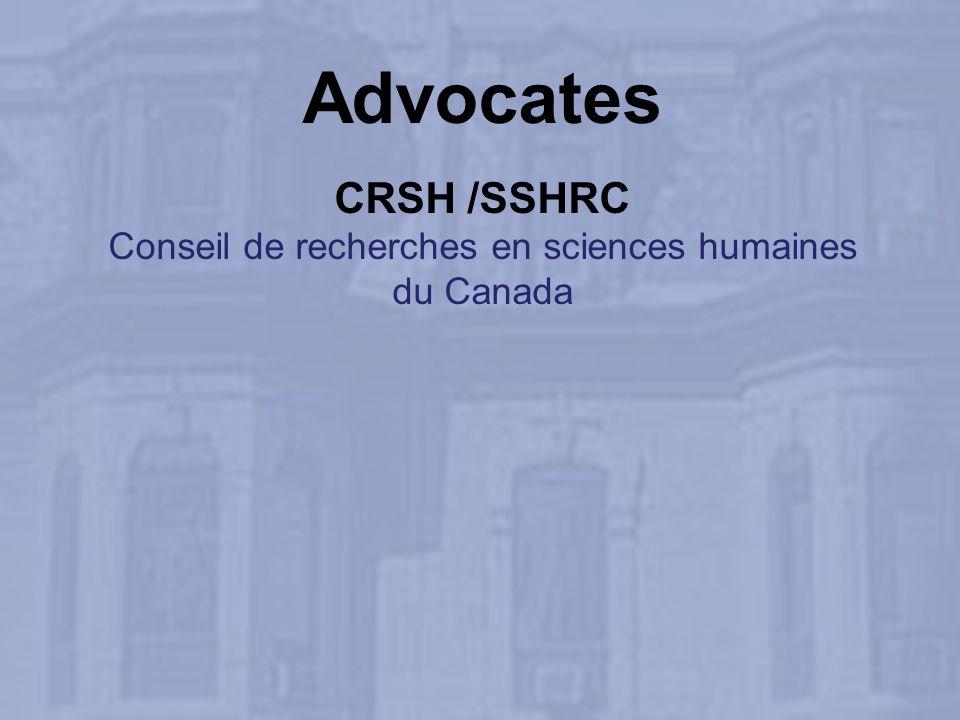 Advocates CRSH /SSHRC Conseil de recherches en sciences humaines du Canada