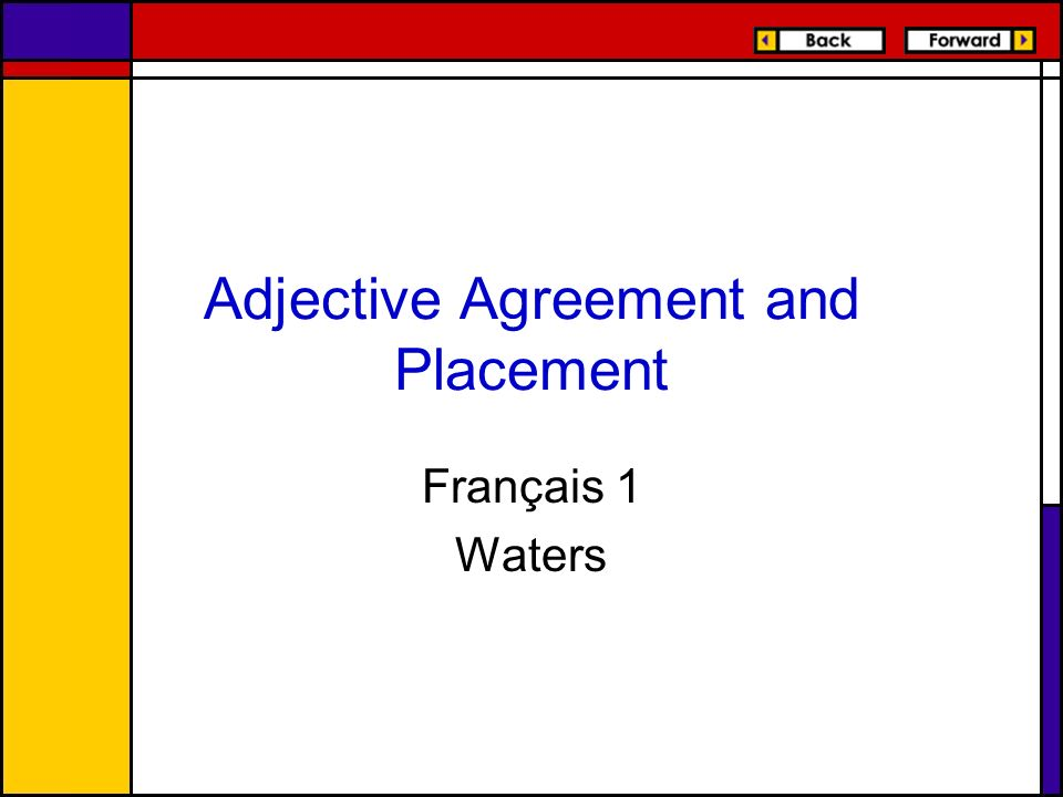 Adjective Agreement and Placement Français 1 Waters
