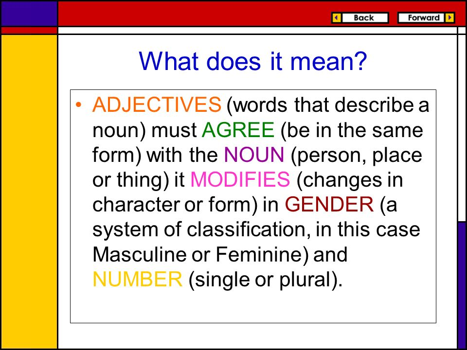 What does it mean? ADJECTIVES (words that describe a noun) must AGREE (be in the same form) with the NOUN (person, place or thing) it MODIFIES (change