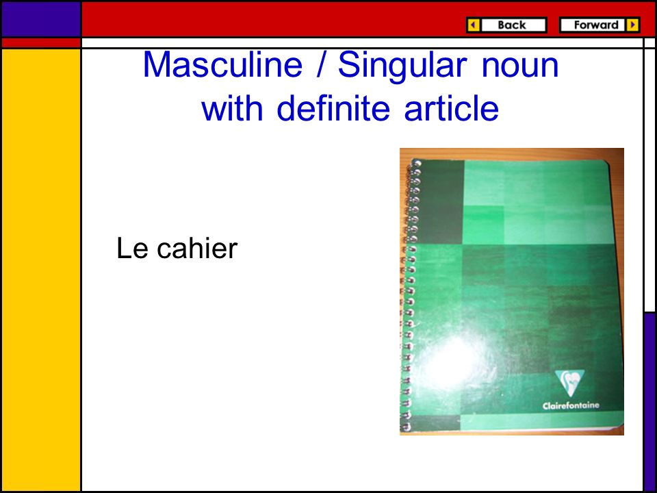 Masculine / Singular noun with definite article Le cahier