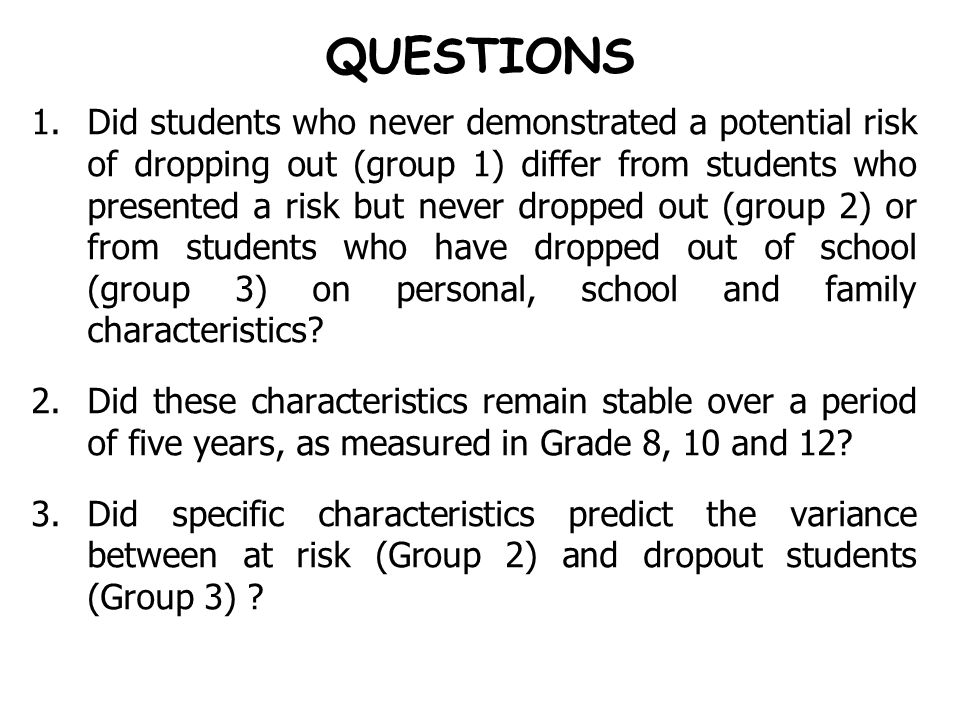 QUESTIONS 1.Did students who never demonstrated a potential risk of dropping out (group 1) differ from students who presented a risk but never dropped out (group 2) or from students who have dropped out of school (group 3) on personal, school and family characteristics.