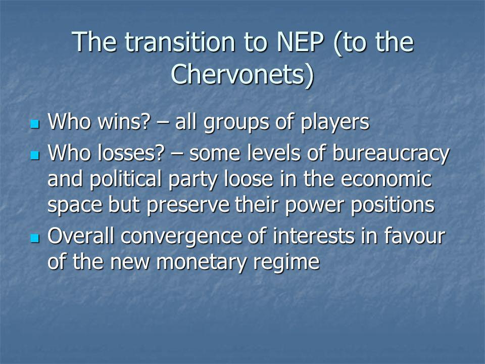 The transition to NEP (to the Chervonets) Who wins? – all groups of players Who wins? – all groups of players Who losses? – some levels of bureaucracy