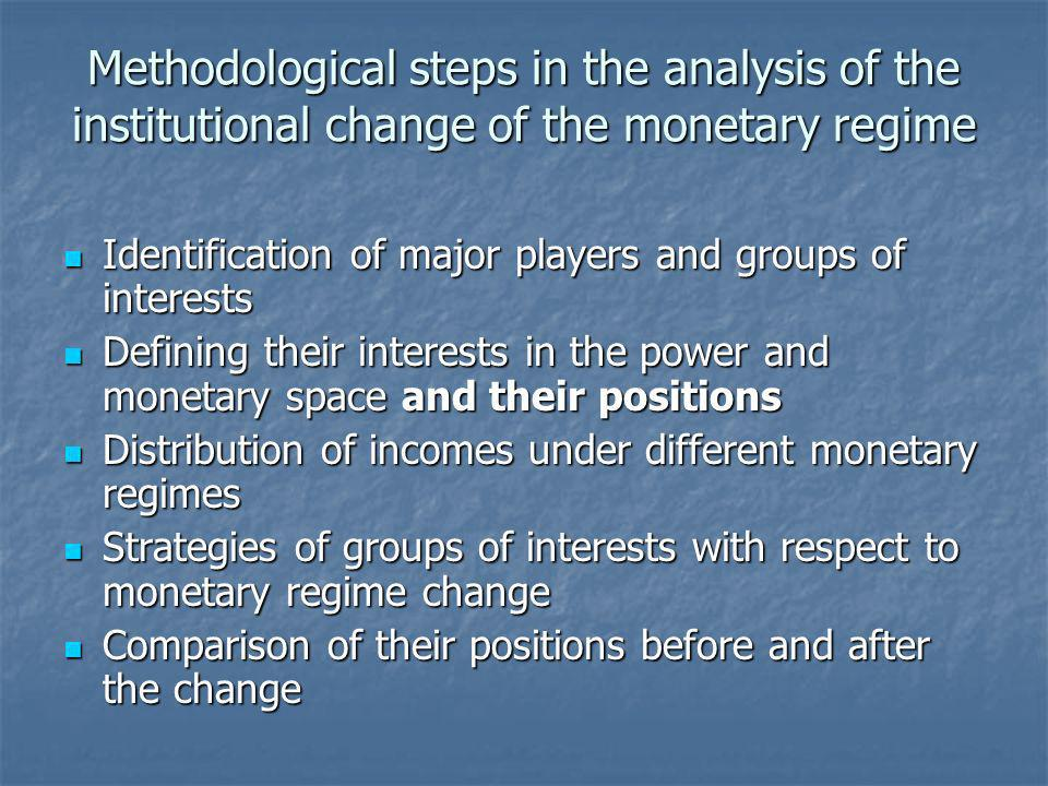 Methodological steps in the analysis of the institutional change of the monetary regime Identification of major players and groups of interests Identi