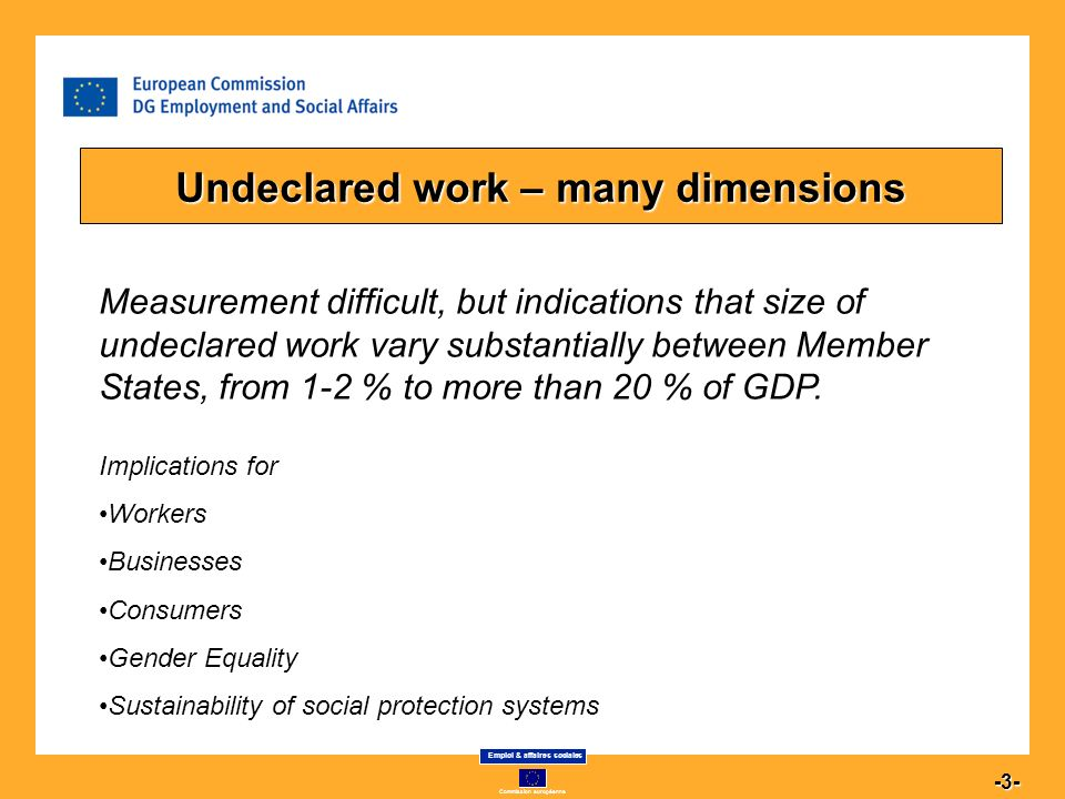 Commission européenne Emploi & affaires sociales 4 -4- The changing nature of undeclared work Sectorial variations between Member States.