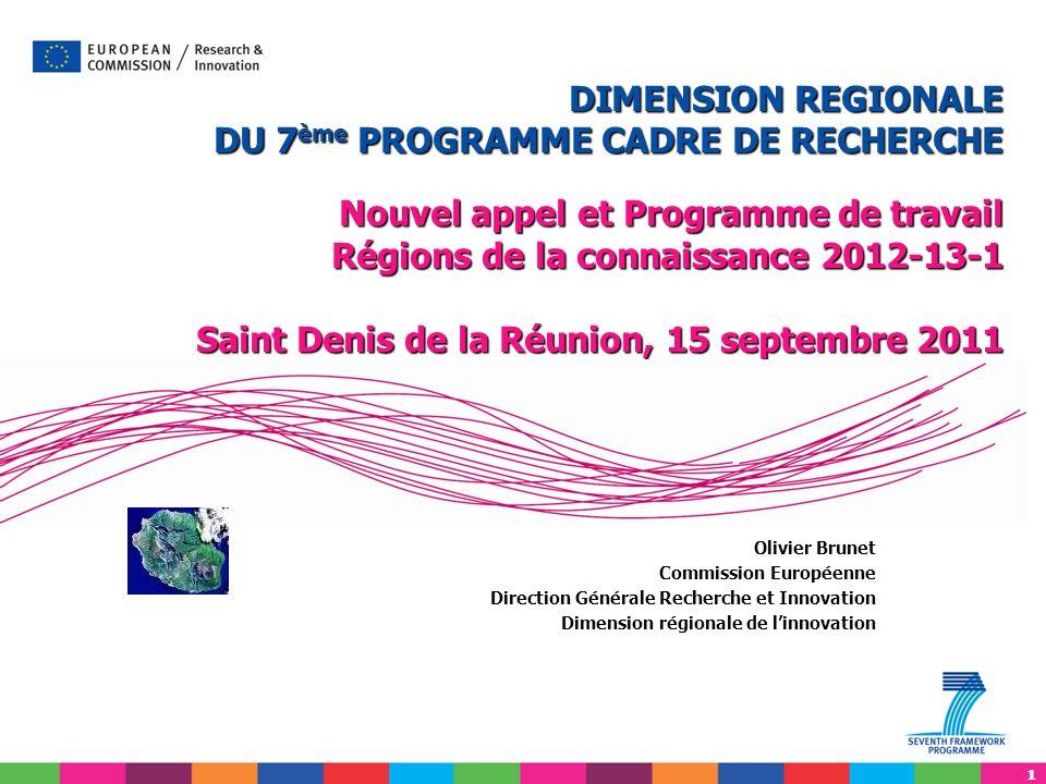11 Olivier Brunet Commission Européenne Direction Générale Recherche et Innovation Dimension régionale de linnovation DIMENSION REGIONALE DU 7 ème PRO