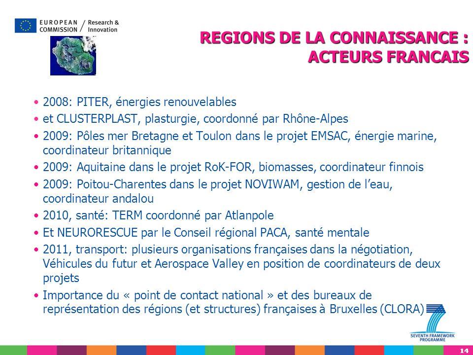 14 2008: PITER, énergies renouvelables et CLUSTERPLAST, plasturgie, coordonné par Rhône-Alpes 2009: Pôles mer Bretagne et Toulon dans le projet EMSAC,