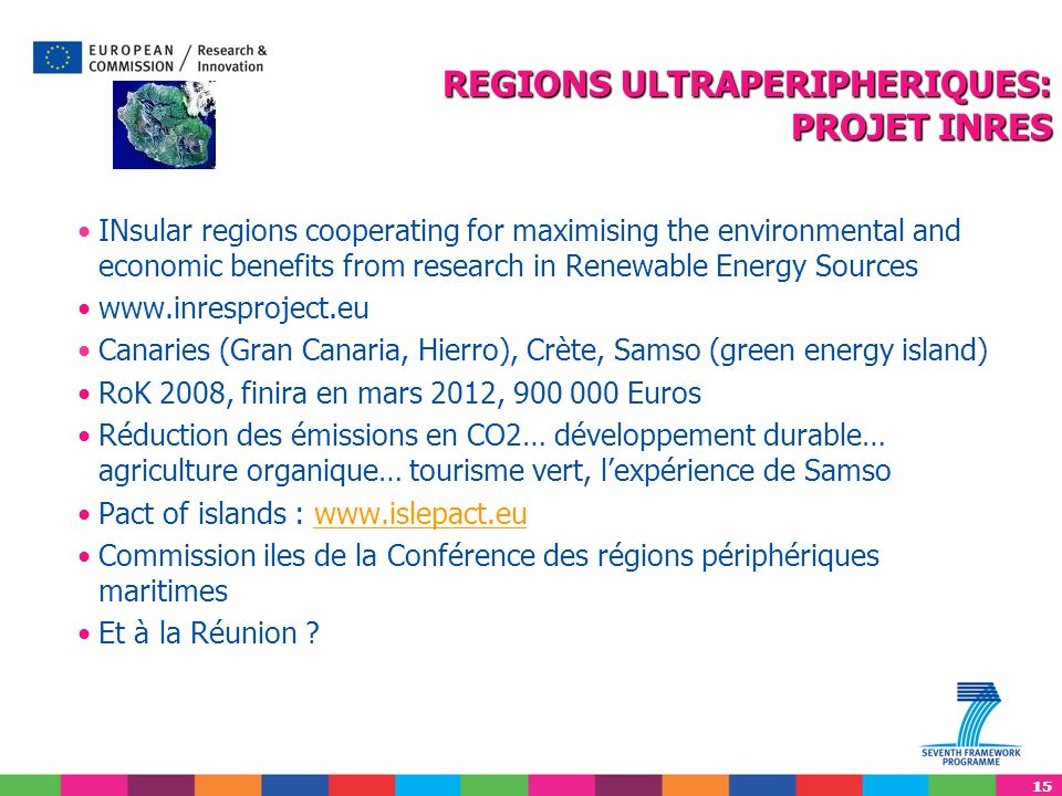 15 INsular regions cooperating for maximising the environmental and economic benefits from research in Renewable Energy Sources www.inresproject.eu Ca