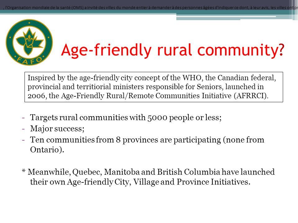 Age-friendly rural community.