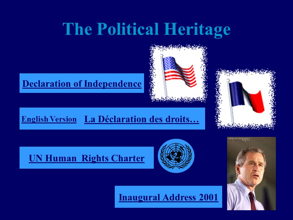The Political Heritage Declaration of Independence La Déclaration des droits… Inaugural Address 2001 English Version UN Human Rights Charter