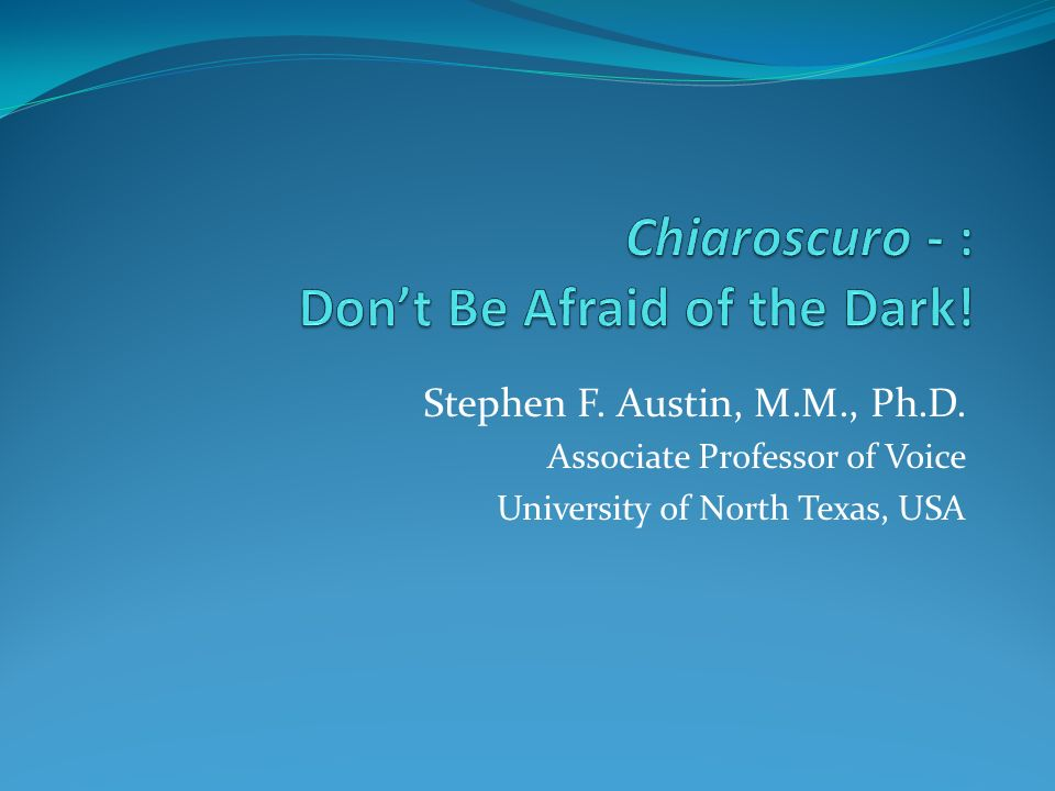Stephen F. Austin, M.M., Ph.D. Associate Professor of Voice University of North Texas, USA