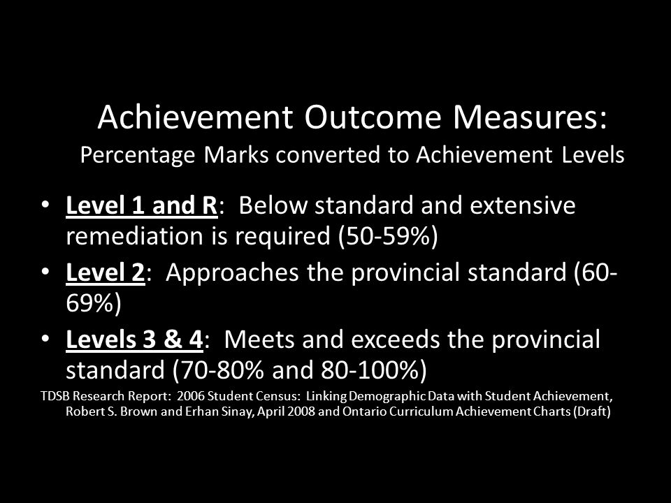 Achievement Outcome Measures: Percentage Marks converted to Achievement Levels Level 1 and R: Below standard and extensive remediation is required (50-59%) Level 2: Approaches the provincial standard (60- 69%) Levels 3 & 4: Meets and exceeds the provincial standard (70-80% and 80-100%) TDSB Research Report: 2006 Student Census: Linking Demographic Data with Student Achievement, Robert S.