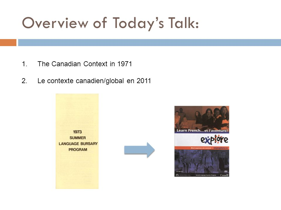 Overview of Todays Talk: 1.The Canadian Context in 1971 2.Le contexte canadien/global en 2011