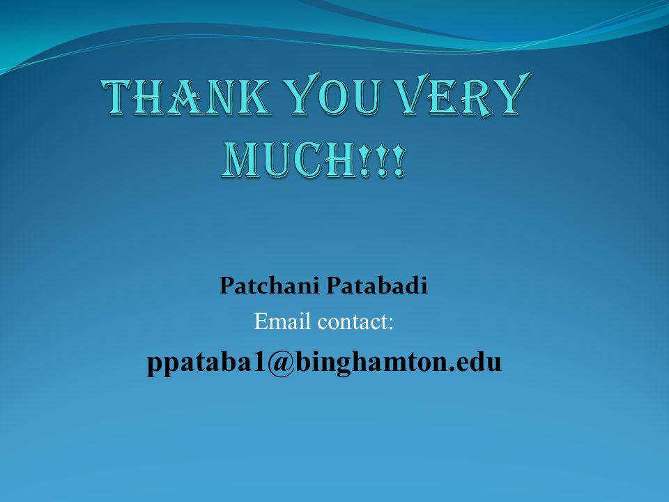 Patchani Patabadi Email contact: ppataba1@binghamton.edu
