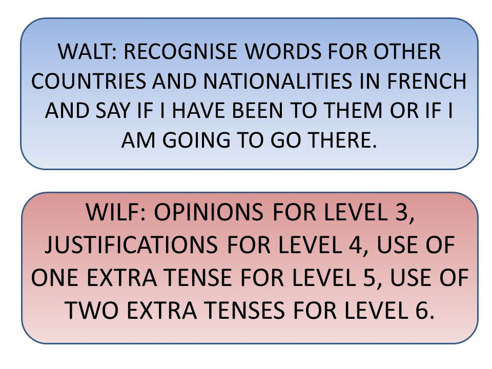 WALT: RECOGNISE WORDS FOR OTHER COUNTRIES AND NATIONALITIES IN FRENCH AND SAY IF I HAVE BEEN TO THEM OR IF I AM GOING TO GO THERE. WILF: OPINIONS FOR