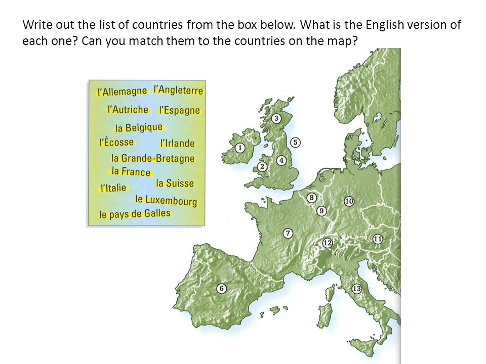 Write out the list of countries from the box below. What is the English version of each one? Can you match them to the countries on the map?