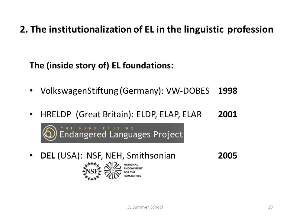 2. The institutionalization of EL in the linguistic profession The (inside story of) EL foundations: VolkswagenStiftung (Germany): VW-DOBES1998 HRELDP