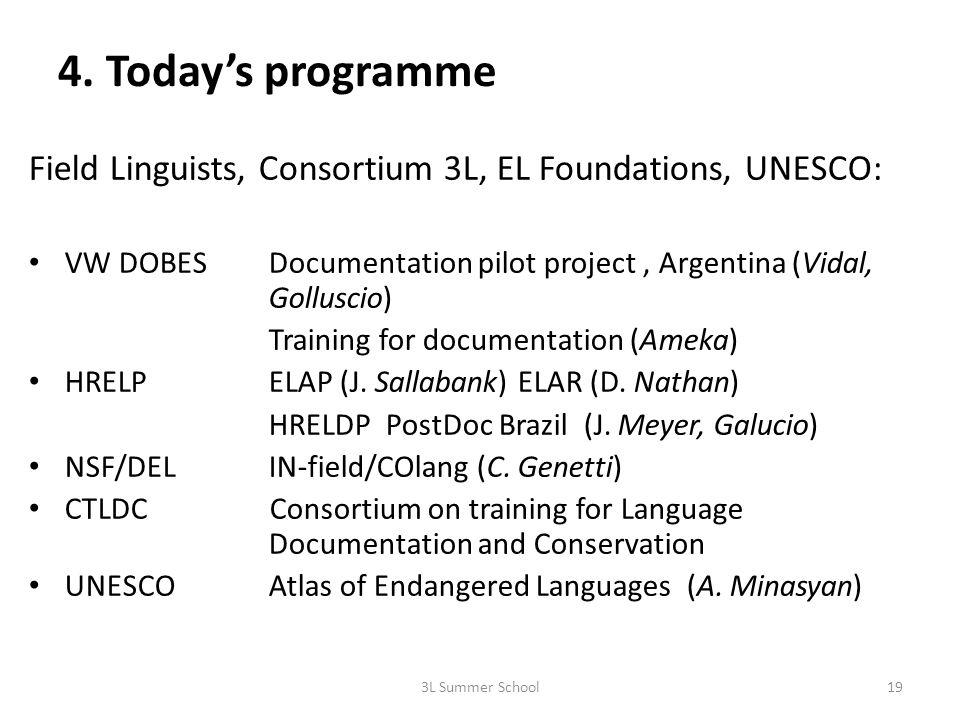 4. Todays programme Field Linguists, Consortium 3L, EL Foundations, UNESCO: VW DOBESDocumentation pilot project, Argentina (Vidal, Golluscio) Training