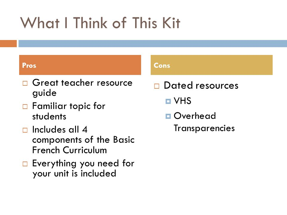 What I Think of This Kit Great teacher resource guide Familiar topic for students Includes all 4 components of the Basic French Curriculum Everything you need for your unit is included Dated resources VHS Overhead Transparencies ProsCons
