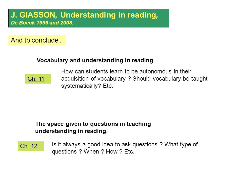 J. GIASSON, Understanding in reading, De Boeck 1996 and 2008.
