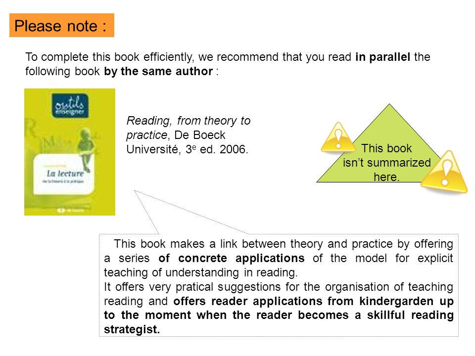 Reading, from theory to practice, De Boeck Université, 3 e ed.