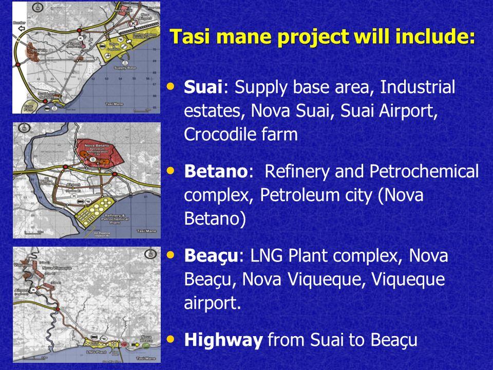 Tasi mane project will include: Suai: Supply base area, Industrial estates, Nova Suai, Suai Airport, Crocodile farm Betano: Refinery and Petrochemical