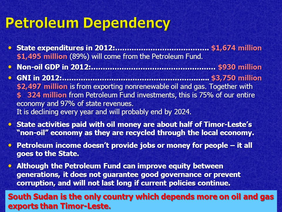 State expenditures in 2012:………………………………….$1,674 million $1,495 million (89%) will come from the Petroleum Fund.