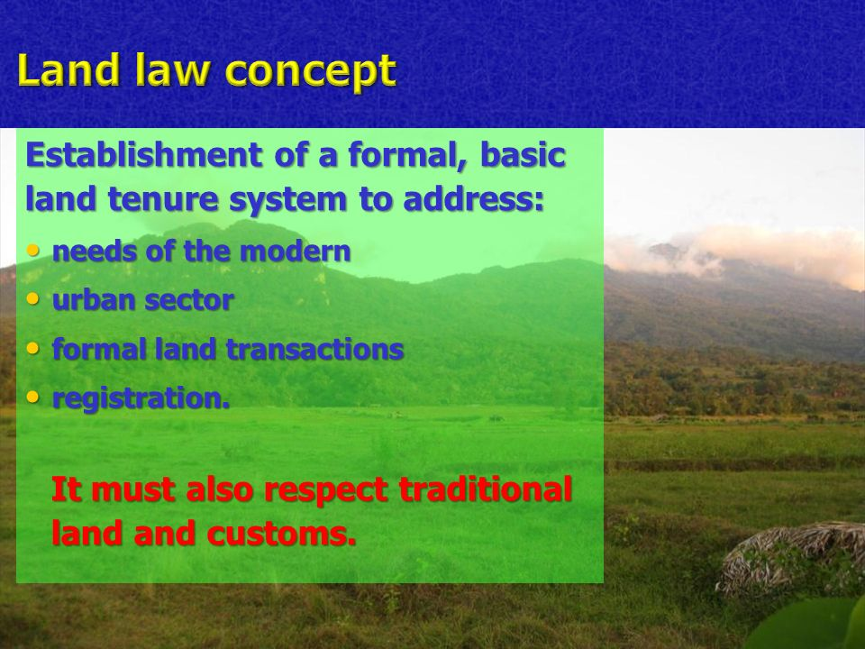 Establishment of a formal, basic land tenure system to address: needs of the modern needs of the modern urban sector urban sector formal land transactions formal land transactions registration.
