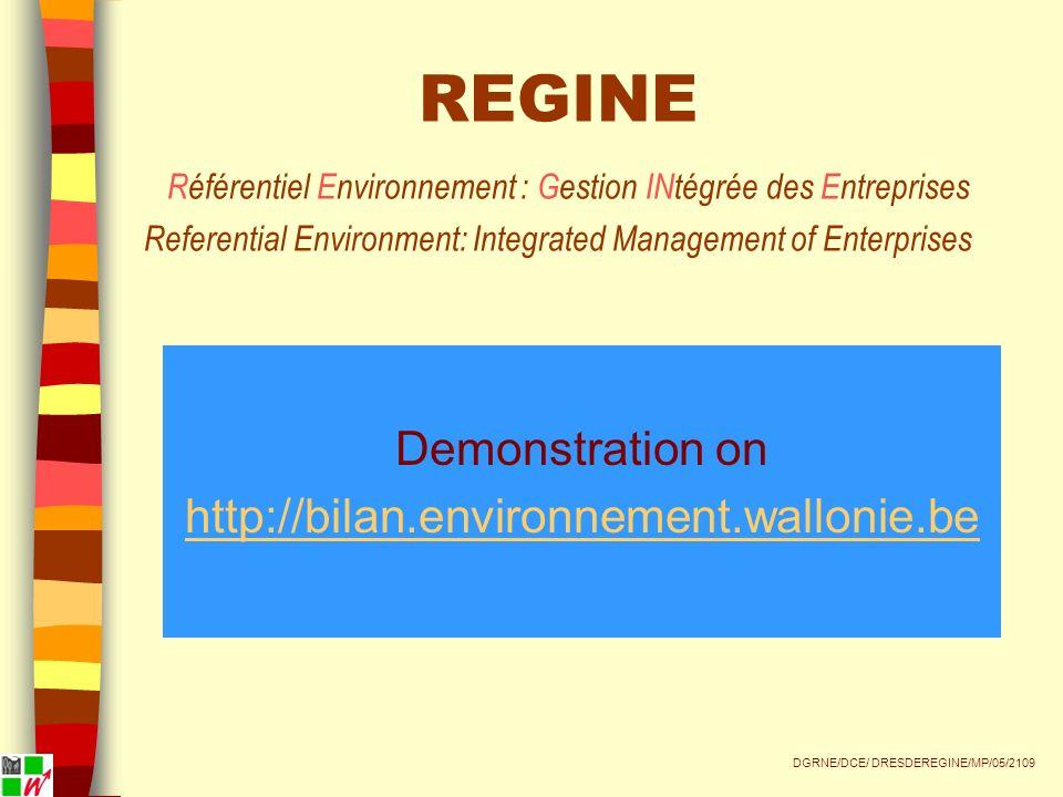 Demonstration on http://bilan.environnement.wallonie.be DGRNE/DCE/ DRESDEREGINE/MP/05/2109 REGINE Référentiel Environnement : Gestion INtégrée des Entreprises Referential Environment: Integrated Management of Enterprises
