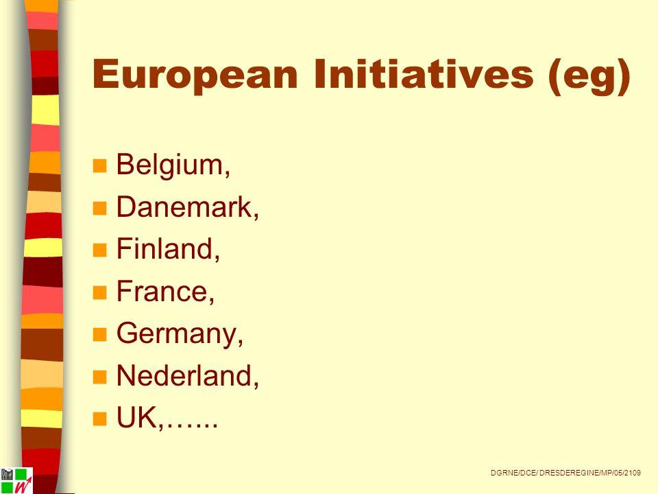 European Initiatives (eg) Belgium, Danemark, Finland, France, Germany, Nederland, UK,…...