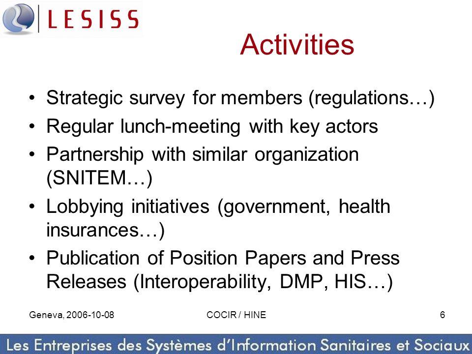 Geneva, 2006-10-08COCIR / HINE6 Activities Strategic survey for members (regulations…) Regular lunch-meeting with key actors Partnership with similar
