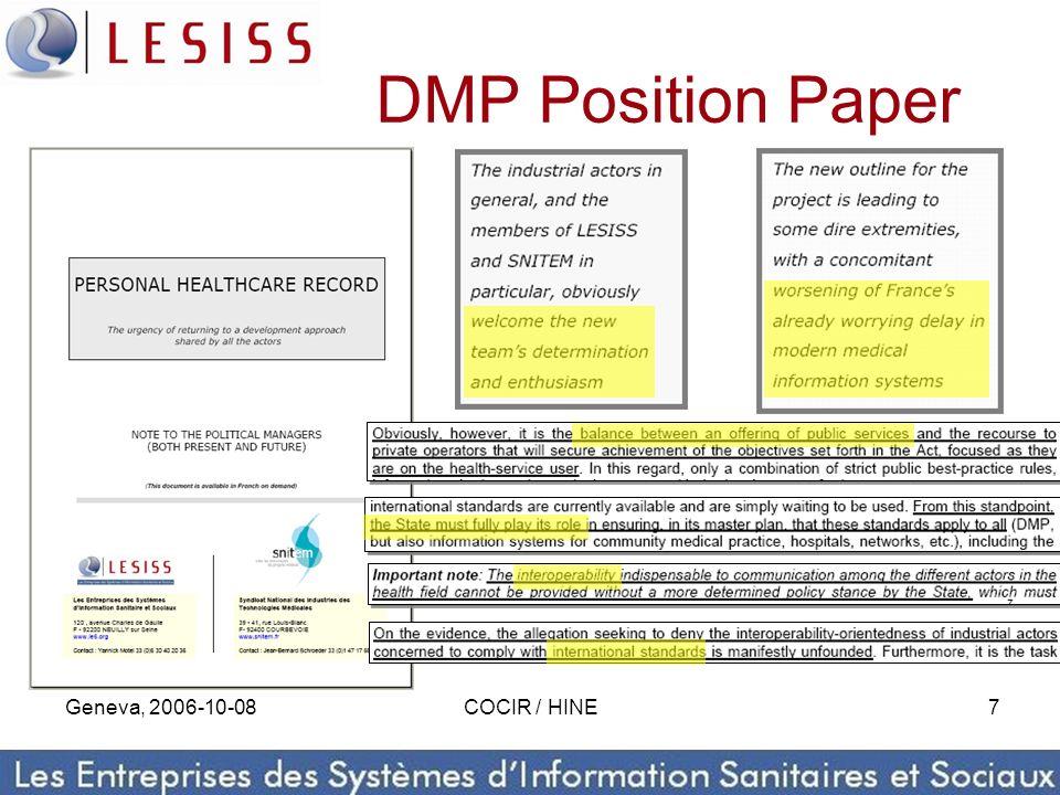 Geneva, 2006-10-08COCIR / HINE7 DMP Position Paper