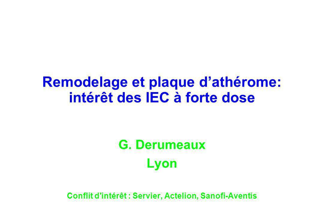 Remodelage et plaque dathérome: intérêt des IEC à forte dose G. Derumeaux Lyon Conflit d'intérêt : Servier, Actelion, Sanofi-Aventis