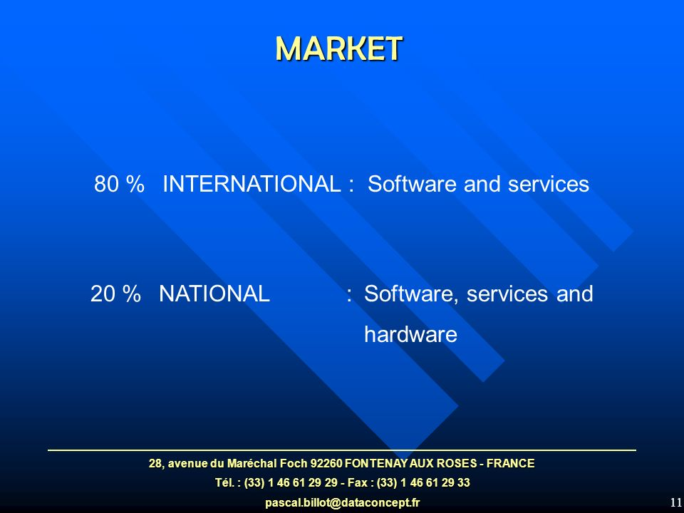11 MARKET 80 %INTERNATIONAL : Software and services 20 % NATIONAL :Software, services and hardware 28, avenue du Maréchal Foch 92260 FONTENAY AUX ROSES - FRANCE Tél.