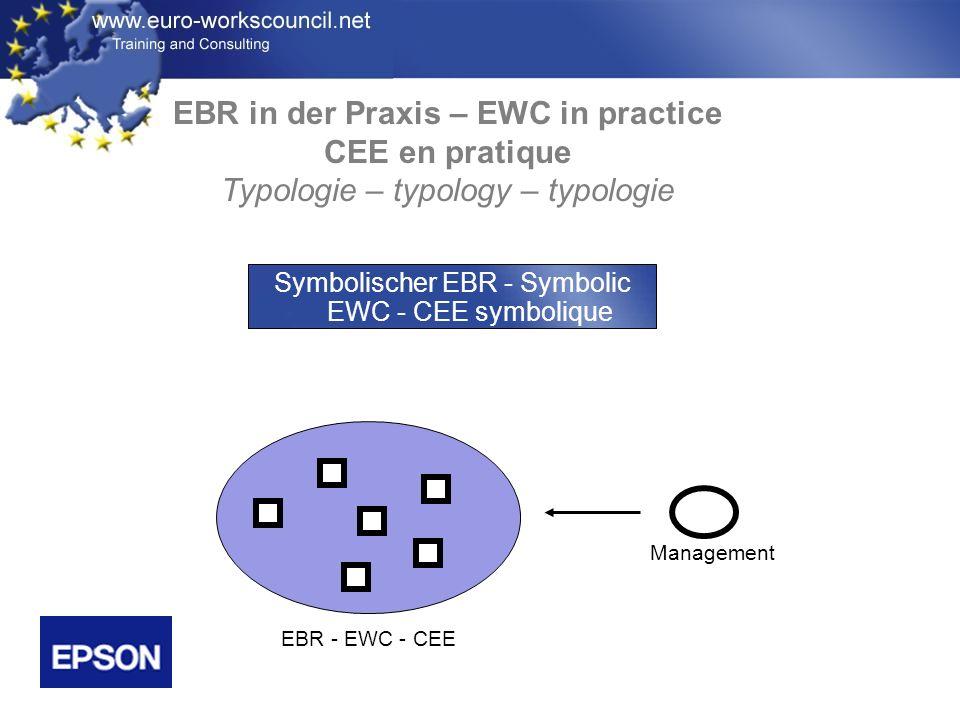 EBR in der Praxis – EWC in practice CEE en pratique Typologie – typology – typologie Management EBR - EWC - CEE Symbolischer EBR - Symbolic EWC - CEE symbolique
