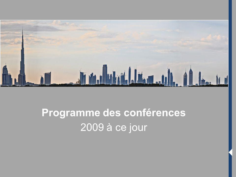 Programme des conférences 2009 à ce jour