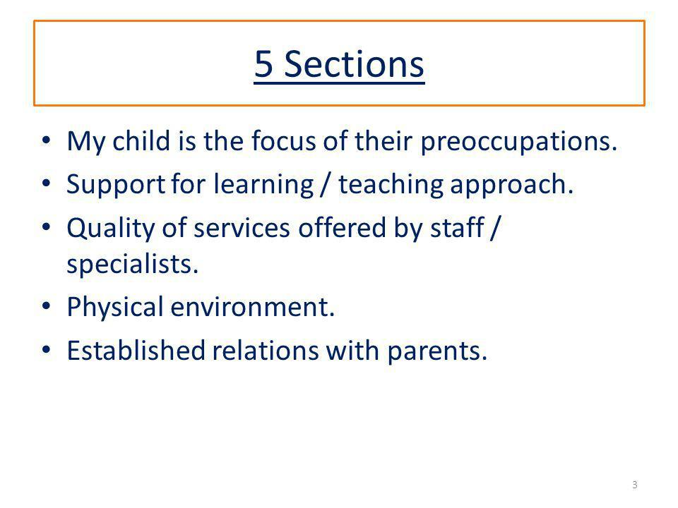 5 Sections My child is the focus of their preoccupations. Support for learning / teaching approach. Quality of services offered by staff / specialists