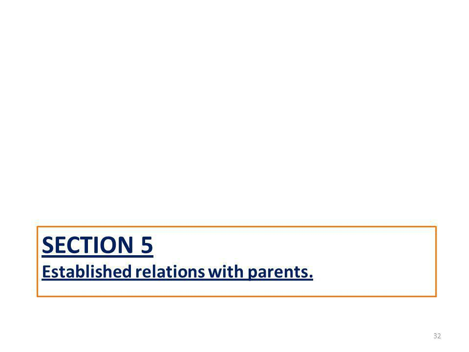 SECTION 5 Established relations with parents. 32