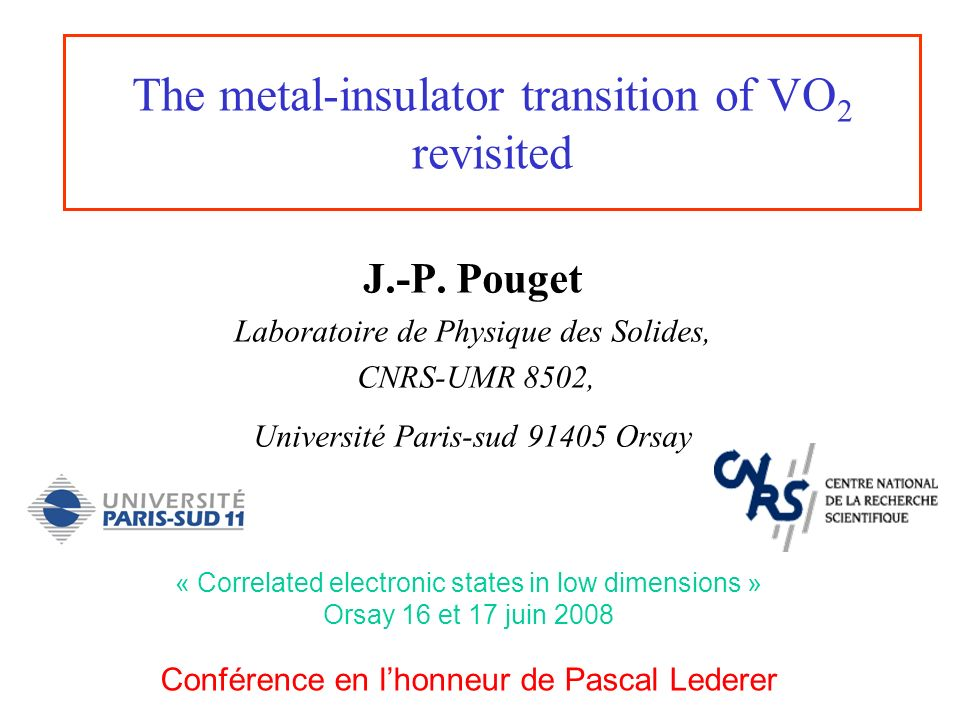 outline Electronic structure of metallic VO 2 Insulating ground states Role of the lattice in the metal-insulator transition of VO 2 General phase diagram of VO 2 and its substituants