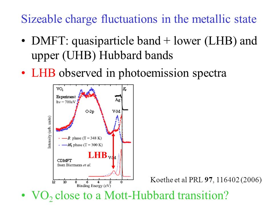 Sizeable charge fluctuations in the metallic state DMFT: quasiparticle band + lower (LHB) and upper (UHB) Hubbard bands LHB observed in photoemission spectra VO 2 close to a Mott-Hubbard transition.