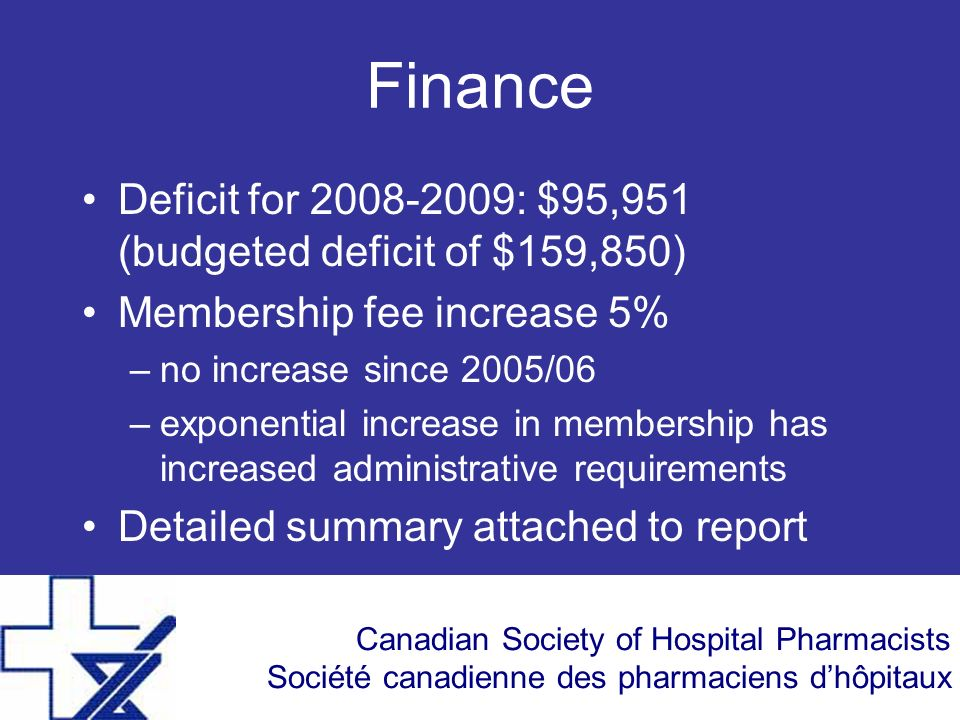 Canadian Society of Hospital Pharmacists Société canadienne des pharmaciens dhôpitaux Finance Deficit for 2008-2009: $95,951 (budgeted deficit of $159