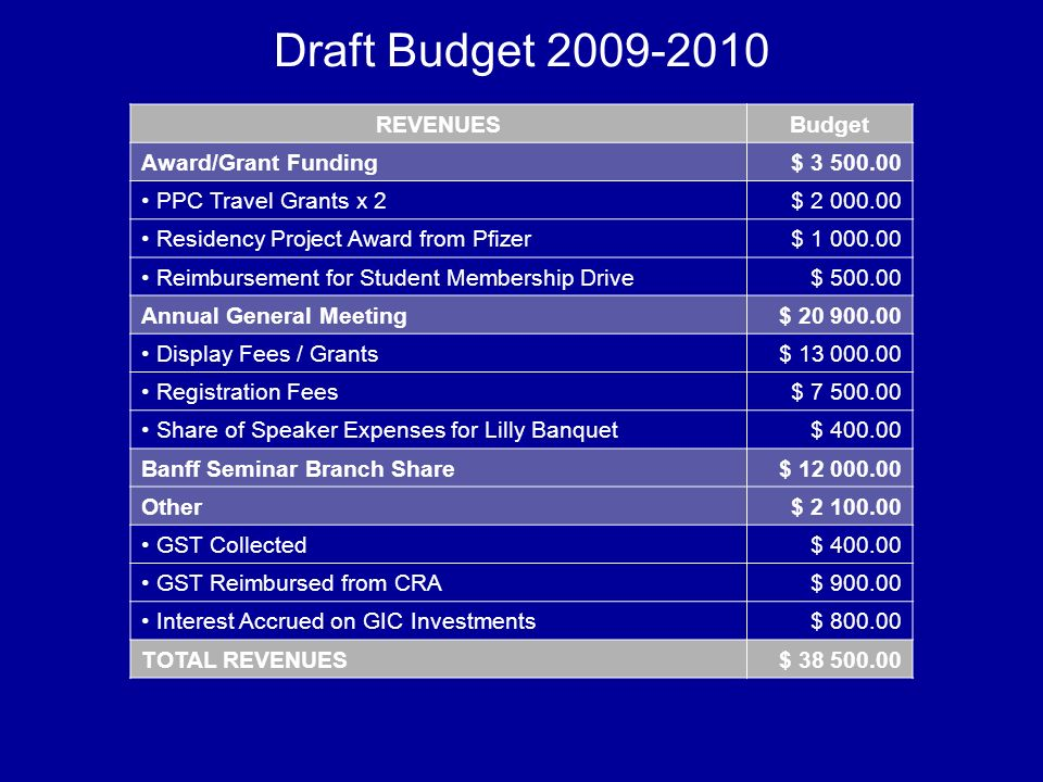 Draft Budget 2009-2010 REVENUESBudget Award/Grant Funding$ 3 500.00 PPC Travel Grants x 2$ 2 000.00 Residency Project Award from Pfizer$ 1 000.00 Reim
