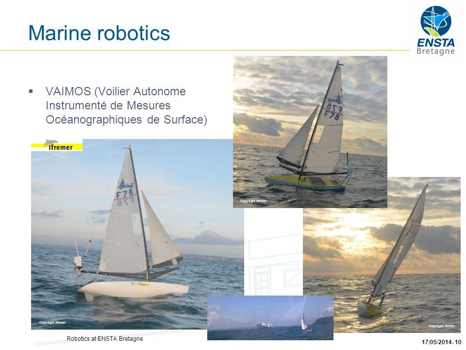 Robotics at ENSTA Bretagne 17/05/2014- 10 VAIMOS (Voilier Autonome Instrumenté de Mesures Océanographiques de Surface) Copyright Ifremer Marine roboti
