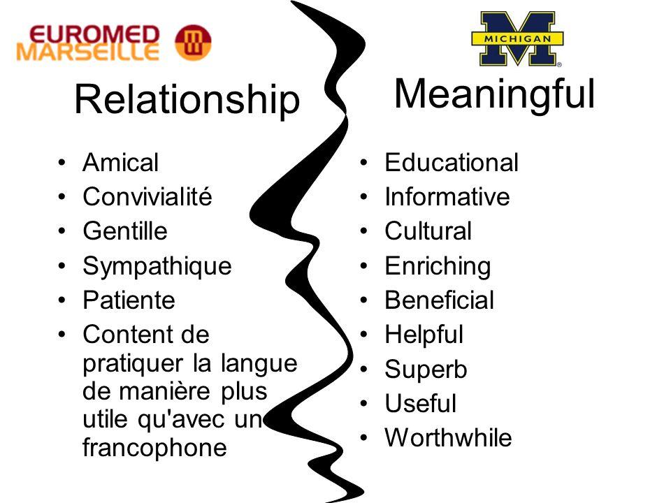 Relationship Amical Convivialité Gentille Sympathique Patiente Content de pratiquer la langue de manière plus utile qu'avec un francophone Meaningful