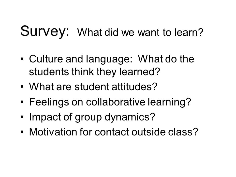 Survey: What did we want to learn. Culture and language: What do the students think they learned.