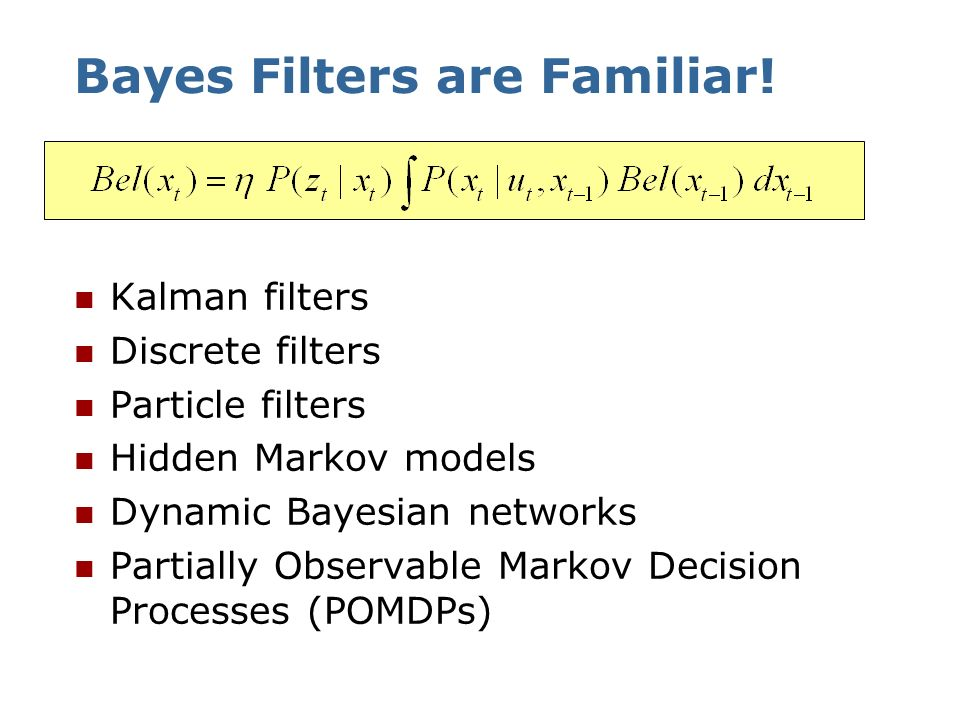 Bayes Filter Algorithm 1. Algorithm Bayes_filter( Bel(x),d ): 2. 0 3. If d is a perceptual data item z then 4. For all x do 5. 6. 7. For all x do 8. 9