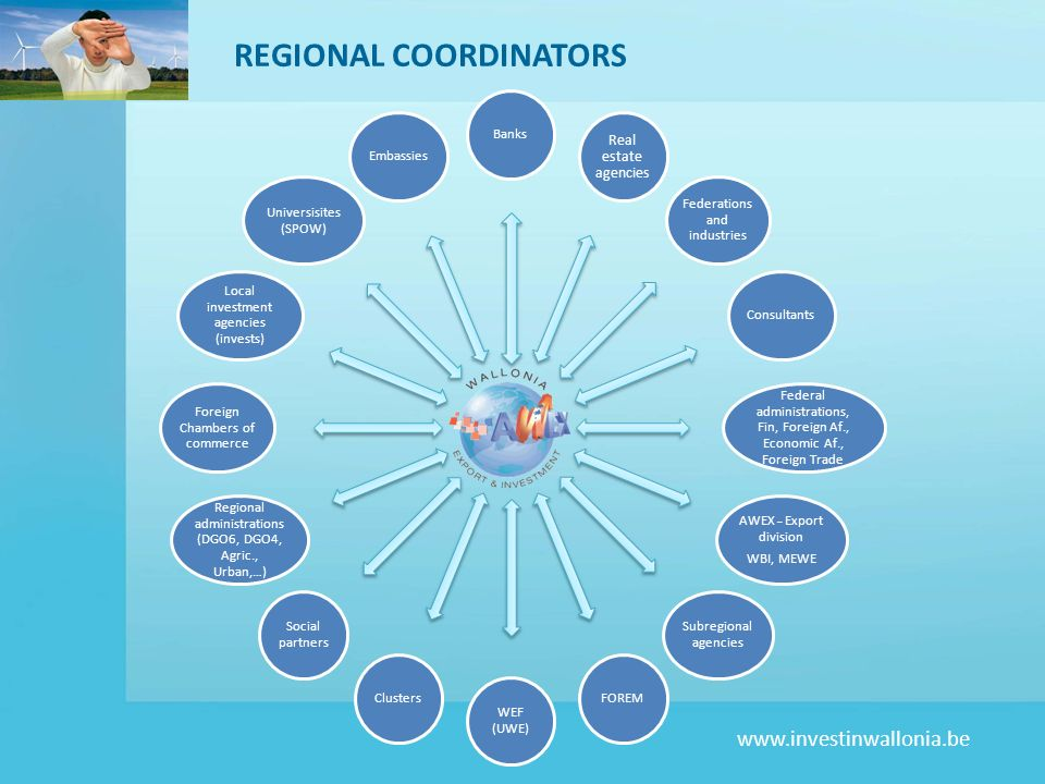 www.investinwallonia.be MARKET APPROACH STRUCTURE Road Shows Conferences Contacts Web Interviews Marketing supports Mailings Promotion follow-up Networking Individual contacts Targeted prospection – product introduction Mass prospection Sites visitsLocal development agencies, real estate agency Market studies AWEX-Foreign Investment & local development agencies FacilitatorAWEX-Foreign Investment & partners After-sales follow-up AWEX-Foreign Investment & partners PROMOTION PROSPECTION ACTIONS