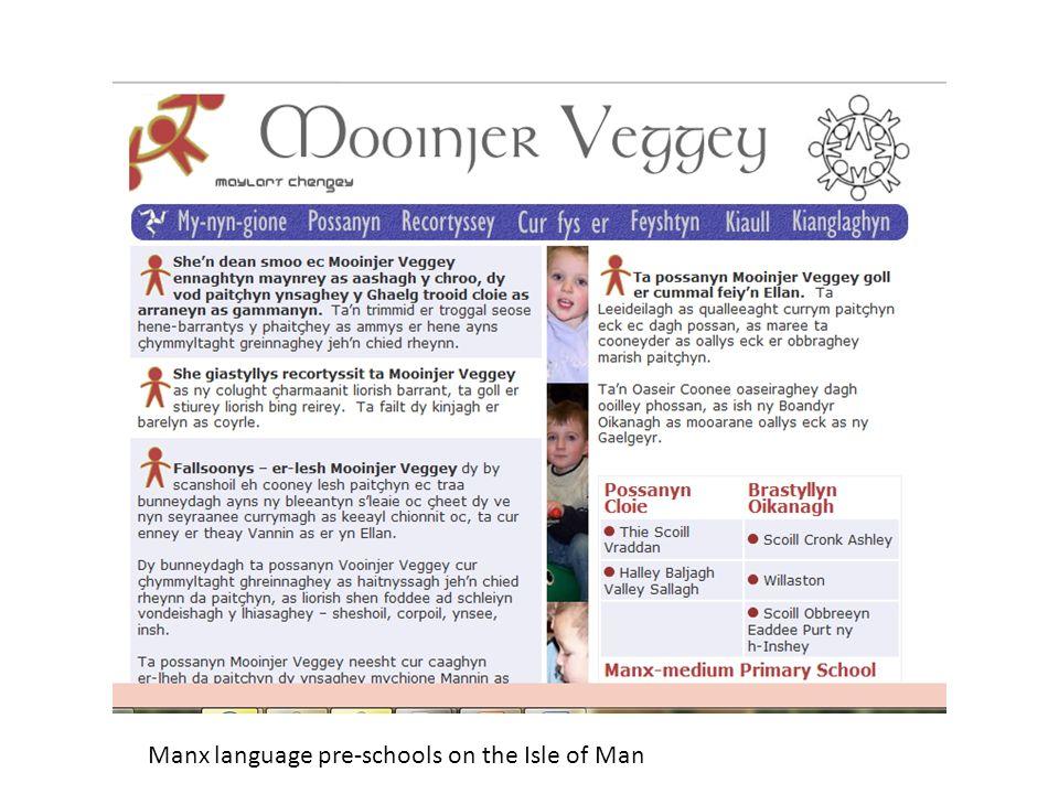 Manx language pre-schools on the Isle of Man