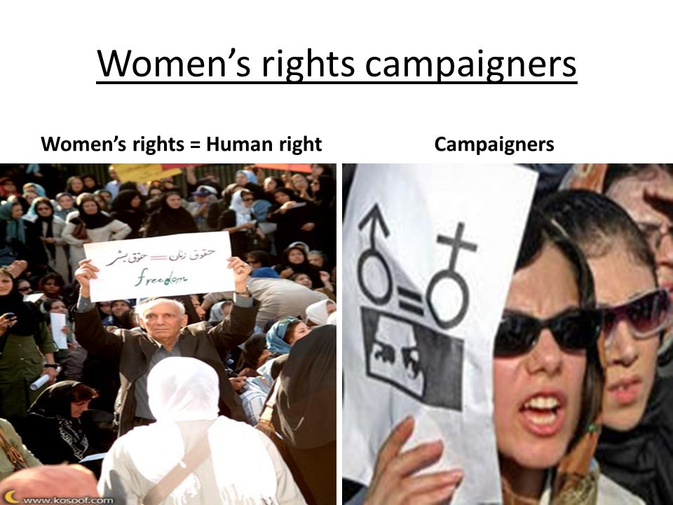 Womens rights campaigners Womens rights = Human right Campaigners