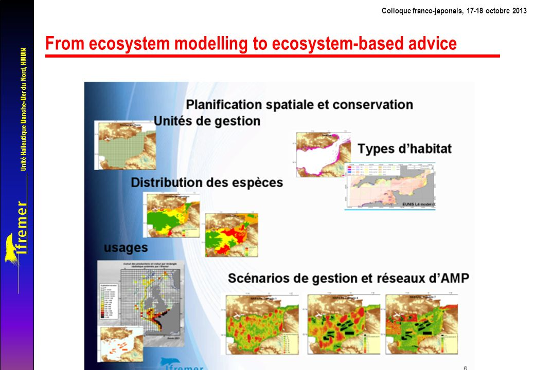 Unité Halieutique Manche-Mer du Nord, HMMN From ecosystem modelling to ecosystem-based advice Colloque franco-japonais, 17-18 octobre 2013